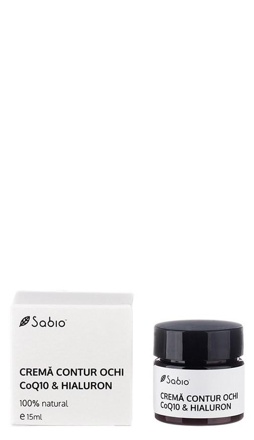 Crema naturala pentru conturul ochilor cu acid hialuronic si Q10 Sabio