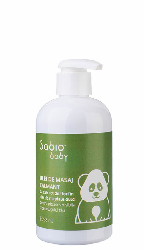 Ulei organic de masaj calmant Sabio Baby cu avocado si migdale dulci
