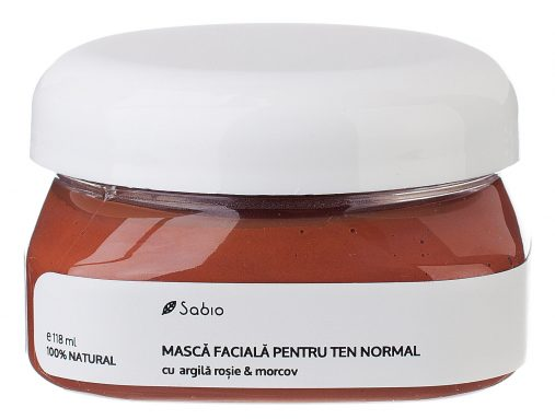 Masca faciala pentru ten normal cu argila rosie si morcov Sabio
