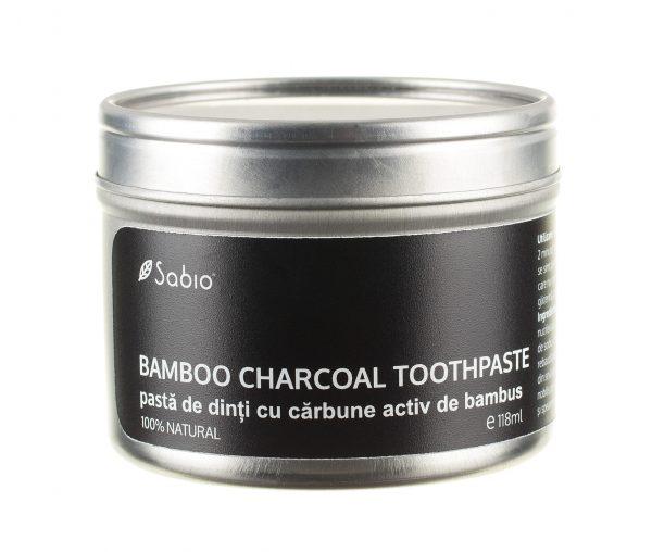 Pasta de dinti naturala cu carbune activ de bambus Sabio